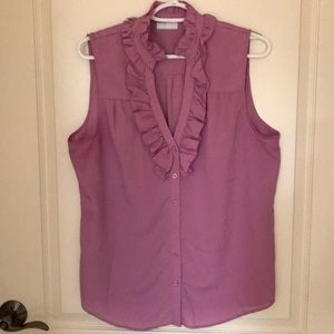 New York and company sleeves blouse, purple, large